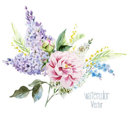 pfingstrosen: Sch�ne Aquarell lila Blumenstrau� mit piones und Mimosen