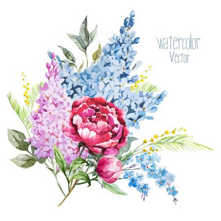 pfingstrosen: Schöne Aquarell lila Blumenstrauß mit piones und Mimosen
