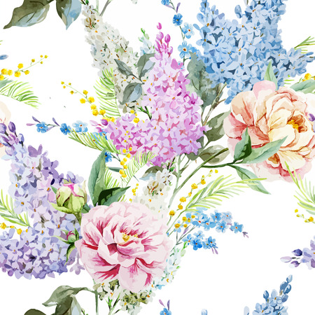 Beautiful watercolor lilac pattern with piones and mimosa 일러스트