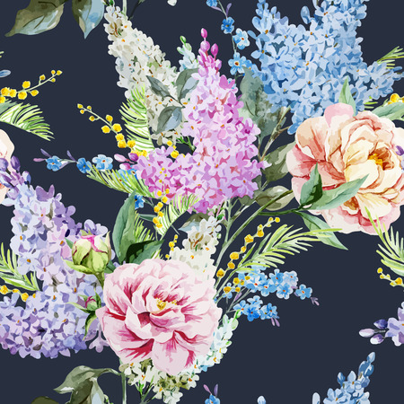 pastel like: Beautiful watercolor lilac pattern with piones and mimosa Illustration