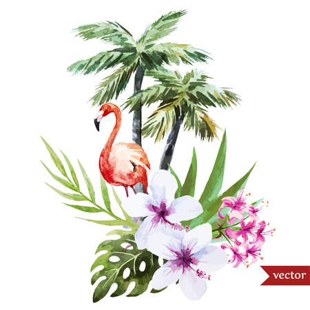 Beautiful vector watercolor pattern with flamingo palm and flowers Vettoriali