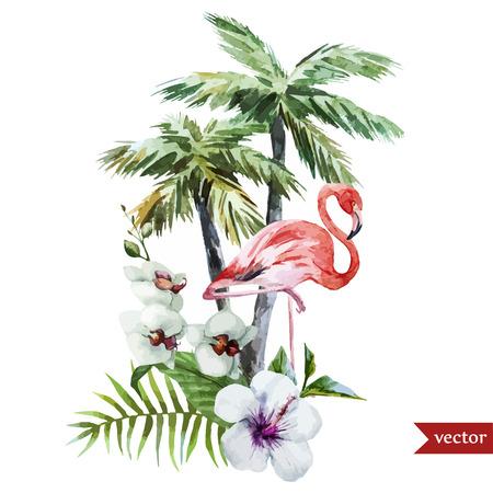 フラミンゴ パームと花美しいベクトル水彩パターン