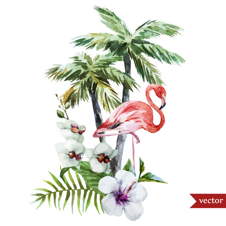 Beautiful vector watercolor pattern with flamingo palm and flowers Çizim