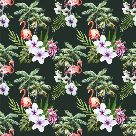 flamenco ave: Hermosa vector patrón de la acuarela con la palma de flamencos y flores