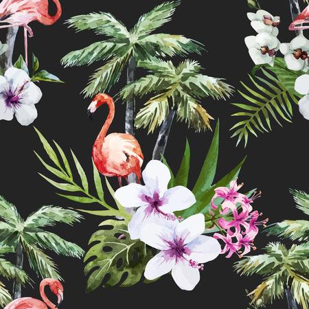 플라밍고 야자수와 꽃 아름 다운 벡터 수채화 패턴 일러스트