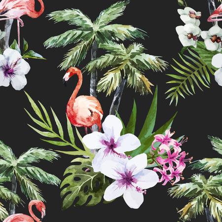 Beautiful vector watercolor pattern with flamingo palm and flowers Ilustrace