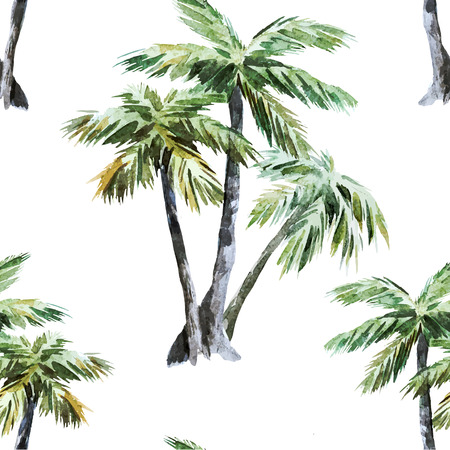 tropical forest: Beautiful vector watercolor pattern with tropic palms