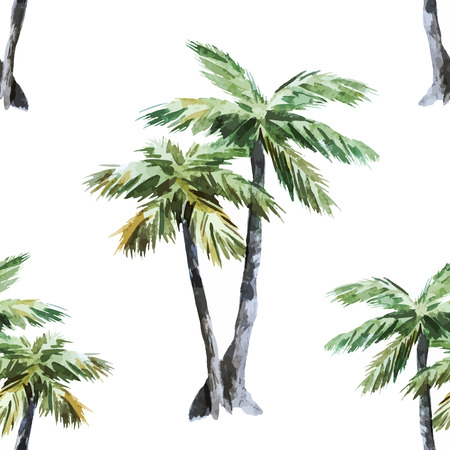 Beautiful vector watercolor pattern with tropic palms