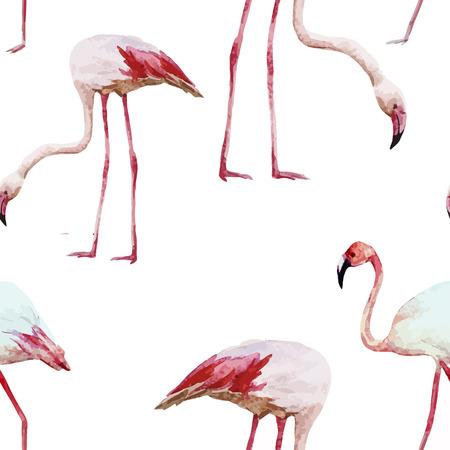 flamingos: Beautiful vector watercolor pattern with nice flamingos
