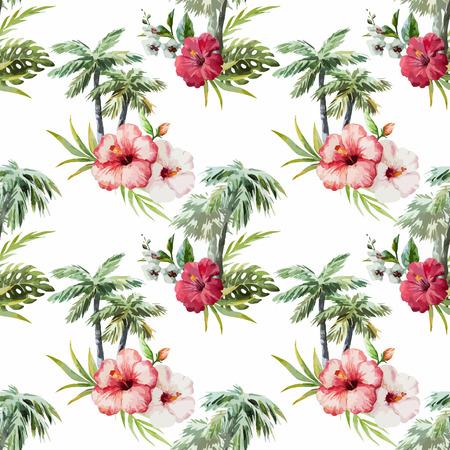 パームと花の美しいベクター水彩パターン  イラスト・ベクター素材
