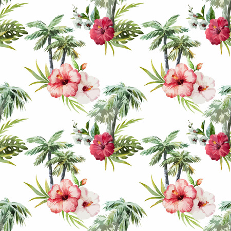 pink flamingo: Beautiful vector watercolor pattern with palm and flowers