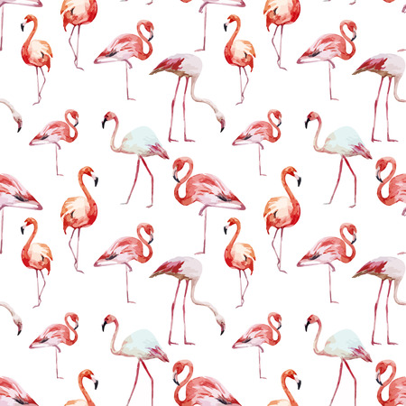 Beautiful vector watercolor pattern with nice flamingos
