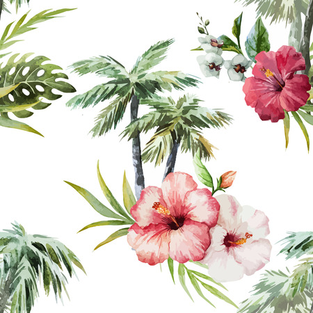 hawaii beach: Beautiful vector watercolor pattern with flamingo palm and flowers Illustration