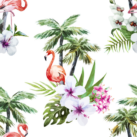 Beautiful vector watercolor pattern with flamingo palm and flowers Vectores