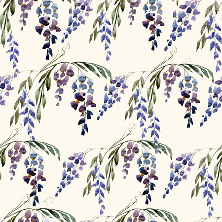 wistaria: Beautiful watercolor vector pattern with nice wistaria flowers Illustration