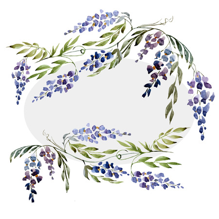 Beautiful watercolor vector set with nice wistaria flowers