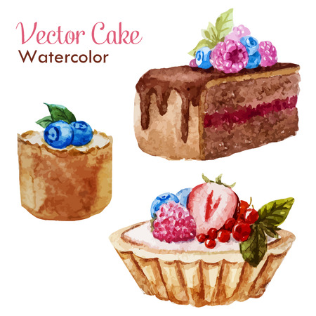 Beautiful vector set with tasty watercolor cakes with berries Ilustração