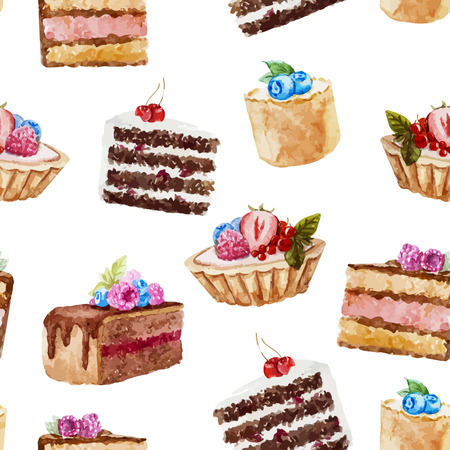 blueberry pie: Beautiful vector pattern with tasty watercolor cakes with berries