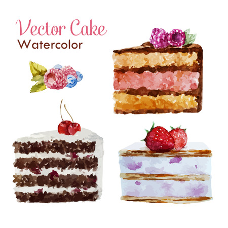 tart: Beautiful vector set with tasty watercolor cakes with berries Illustration