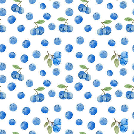 Beautiful vector pattern with tasty watercolor berries 일러스트