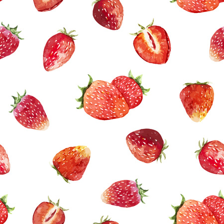 Beautiful vector pattern with tasty watercolor berries Vettoriali