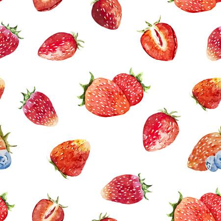 맛있는 수채화 열매와 아름 다운 벡터 패턴 일러스트