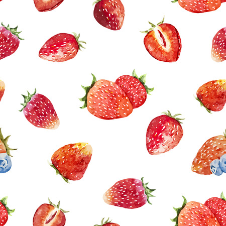 Beautiful vector pattern with tasty watercolor berries Çizim