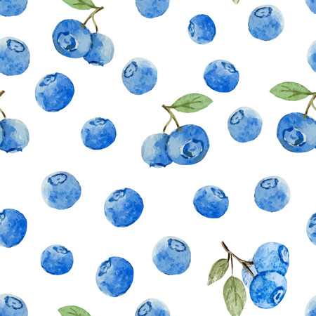 Beautiful vector pattern with tasty watercolor berries Ilustracja