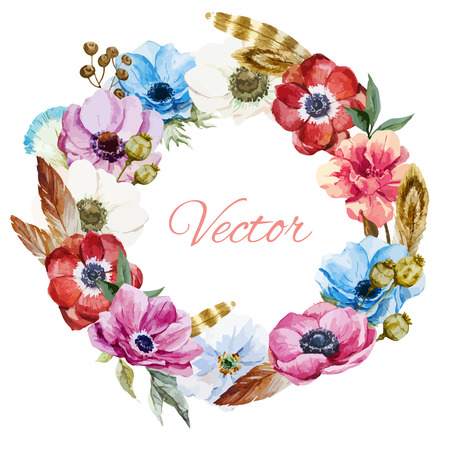 anemones: Beautiful vector wearth with nice watercolr anemones Illustration