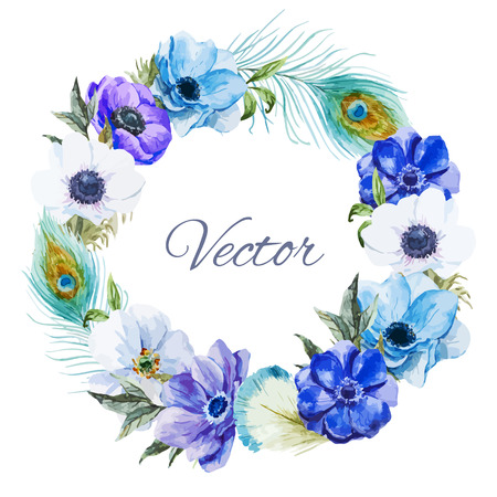 Beautiful vector wearth with nice watercolr anemones Vectores