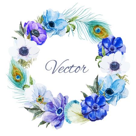 tarjeta postal: Hermosa wearth vector con bonitas anémonas Watercolr