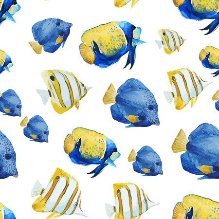 Beautiful vector pattern with nice watercolor fishes Illustration