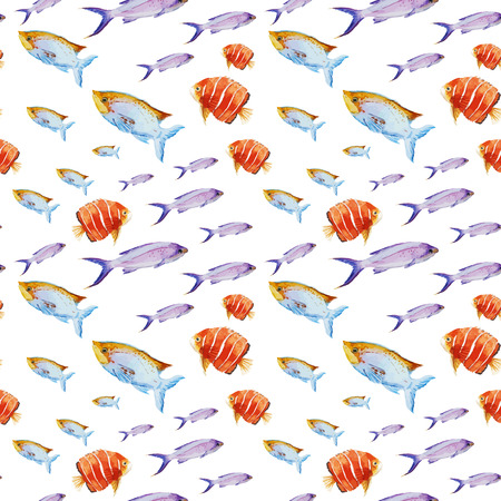 tropical fresh water fish: Beautiful vector pattern with nice watercolor fishes Illustration