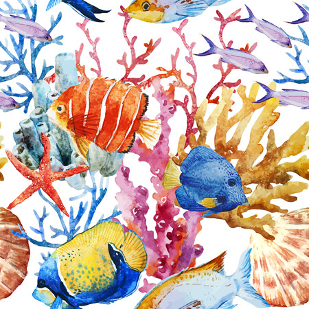 Beautiful vector pattern with nice watercolor fishes Ilustracja