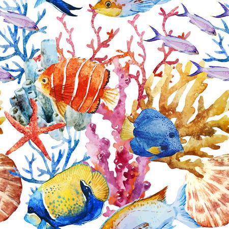 peces: Modelo hermoso del vector con bonitos peces acuarela