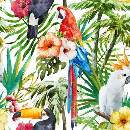 Prachtige vector patroon met mooie aquarel tropische vogels Stock Illustratie