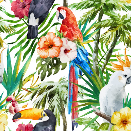 Beautiful vector pattern with nice watercolor tropical birds
