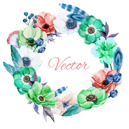 Belle wearth vectoriel avec de belles anémones de watercolr Banque d'images - 37635055