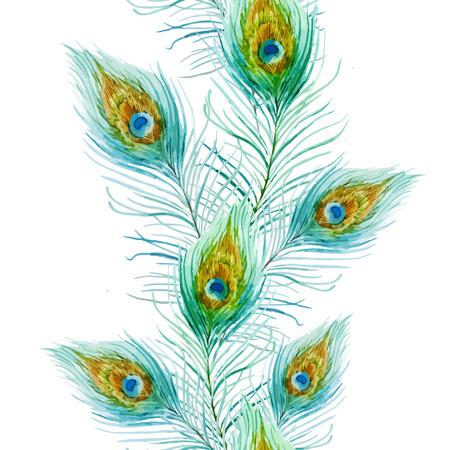 素敵な水彩画の孔雀の羽を持つ美しいベクトル パターン