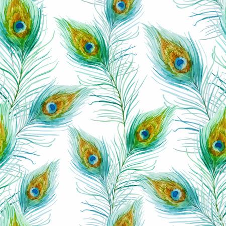 素敵な水彩画の孔雀の羽を持つ美しいベクター パターン  イラスト・ベクター素材