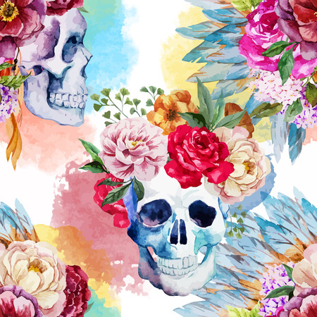 Beautiful vector pattern with watercolor ethnic skull  イラスト・ベクター素材