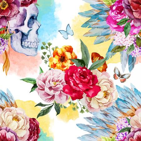 skull: Belle mod�le vectoriel avec le cr�ne ethnique aquarelle