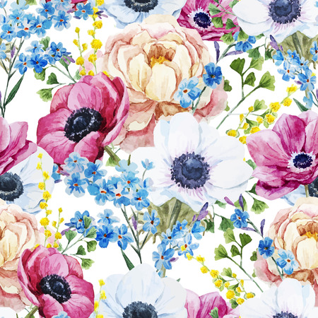 anemones: Beautiful vector pattern with watercolor anemones flowers
