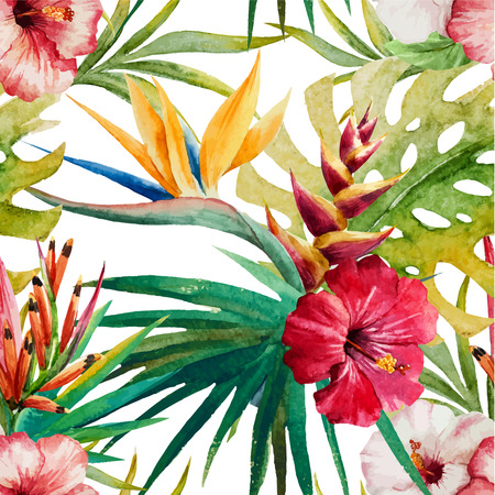 Beautiful vector pattern with watercolor tropical sterlitzia Çizim