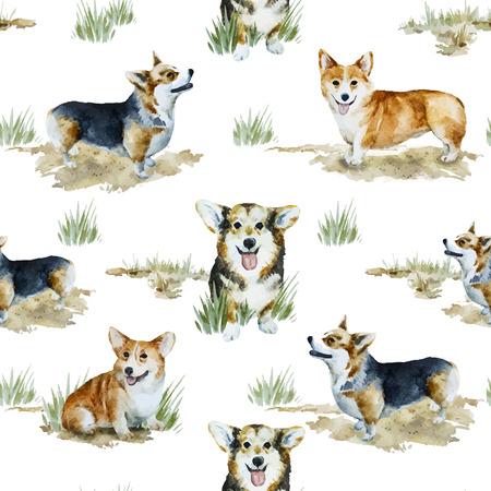 Beautiful vector pattern with nice watercolor velsh korgi pembroke Illustration