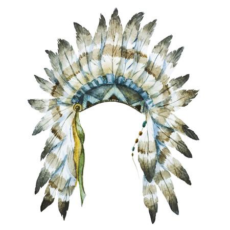 pluma: Hermosa imagen con un bonito sombrero acuarela nativa Vectores
