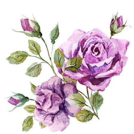 famous painting: Beautiful vector image with nice watercolor roses