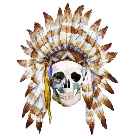 calaveras: Hermosa imagen con un bonito acuarela cr�neo nativo