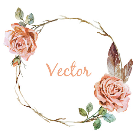 Beautiful vector image with nice watercolor rose wearth