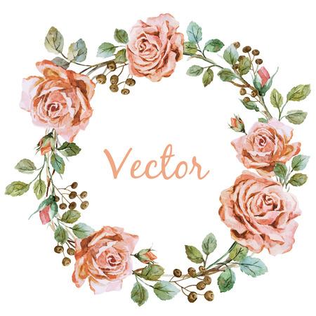 素敵な水彩画バラ wearth と美しいベクトル画像
